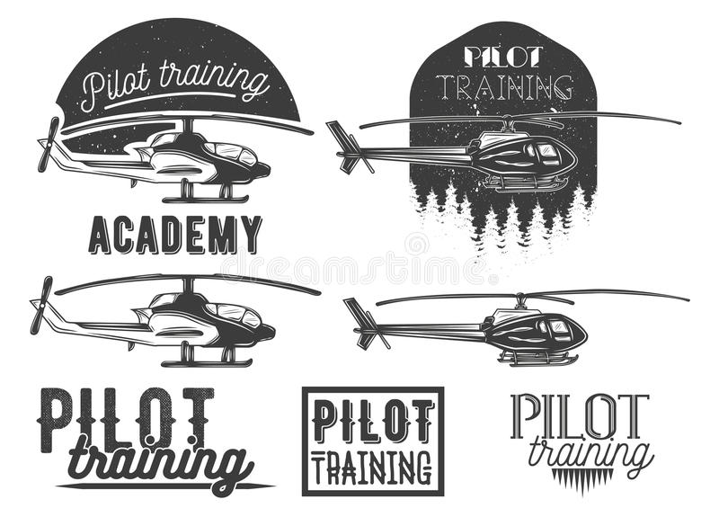 Vector set of helicopter school emblem, label. Badges, logo and design elements. Pilot academy isolated icons in vintage style stock illustration