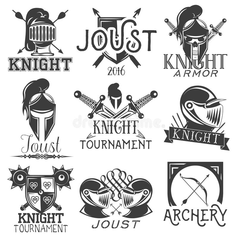 Vector set of heraldic knight labels in vintage style. Design elements, icons, logo. Warrior helmet and sword. Vector set of heraldic knight labels in vintage stock illustration
