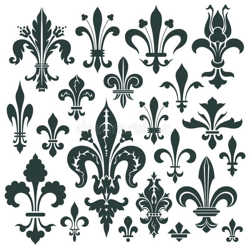 Vector set heraldic lily for decoration and design. Vector set lily flower - heraldic symbol for decoration and design royalty free illustration