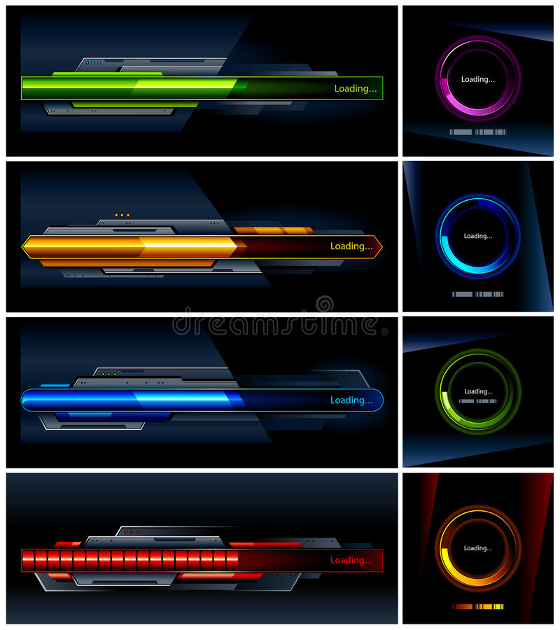 Download Vector Set Of High-tech Progress Indicators Stock Vector - Image: 22002739