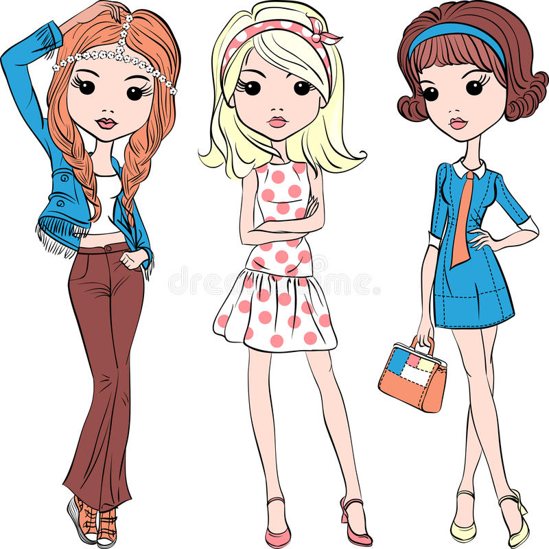 Vector set hipster fashion cute girl stock photography