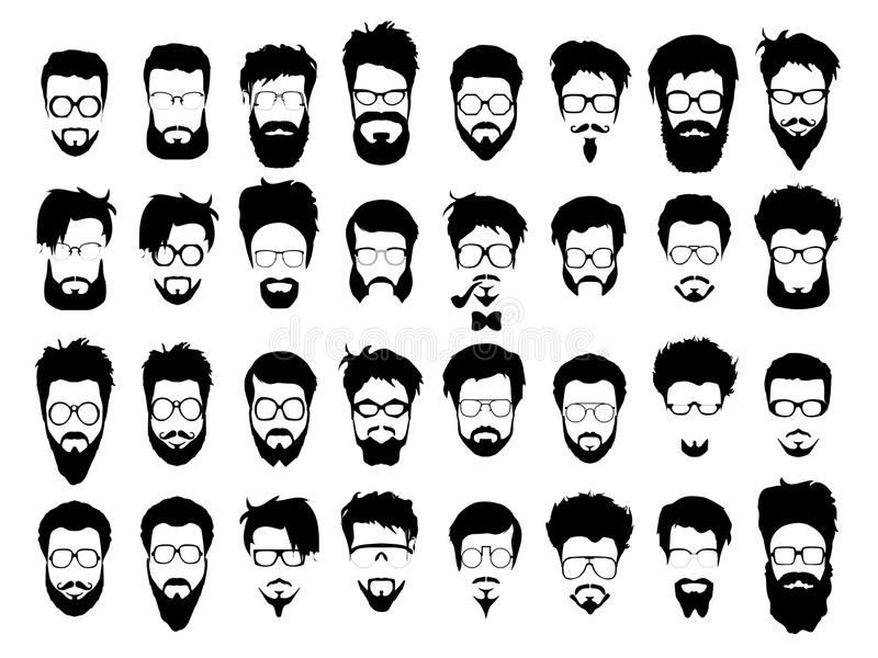 Vector set of hipster style haircut, glasses. Vector set dress up constructor. Different men faces hipster geek style haircut, glasses, beard, mustache, bowtie stock illustration