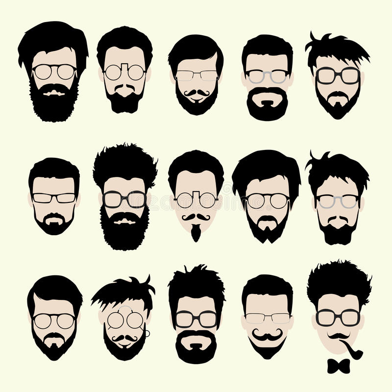 Vector set of hipster style haircut, glasses. Vector set of dress up constructor. Different men faces hipster geek style haircut, glasses, beard, mustache vector illustration