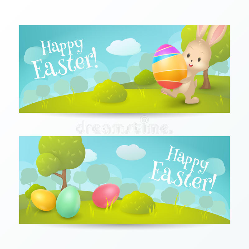 "Vector set of holiday horizontal banners with text ""Happy Easter!"". royalty free illustration"