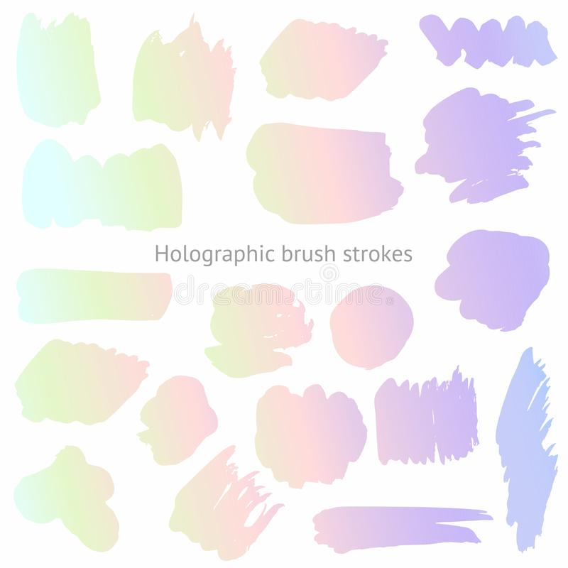 Vector set of holographic brush strokes. Imitation of a holographic surface for design royalty free illustration