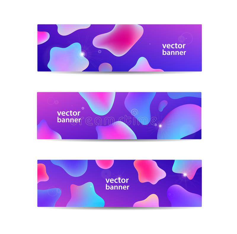 Vector set of horizontal abstract liquid banners, web headers. Fluid color background design, gradient shapes stock illustration
