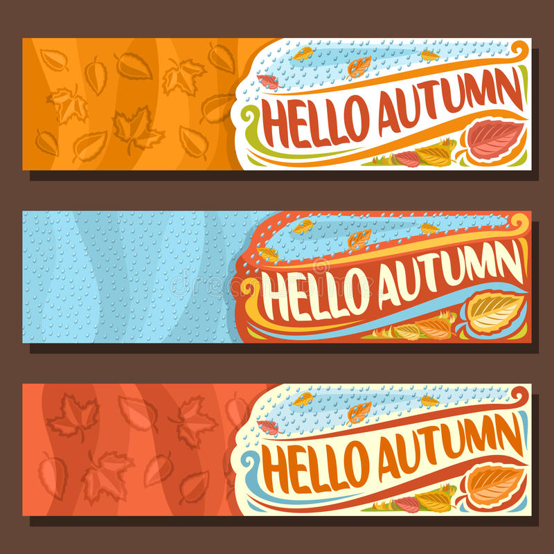 Vector set horizontal banners for Autumn season vector illustration