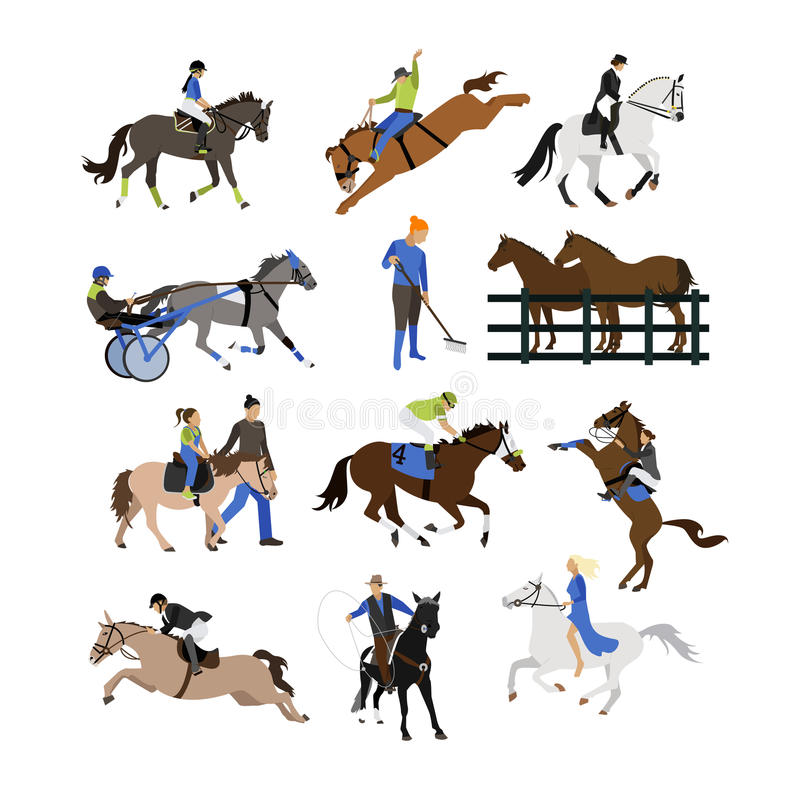 Vector set of horse riders icons, flat design. Vector set of horse riders icons. Horseback riding, cowboy with lasso, horse on its hind legs, equestrian royalty free illustration