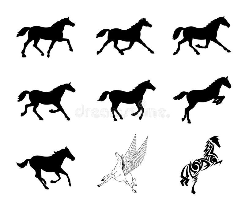 Download Vector Set Of Horse Silhouettes Stock Vector - Illustration of running, contour: 13253970