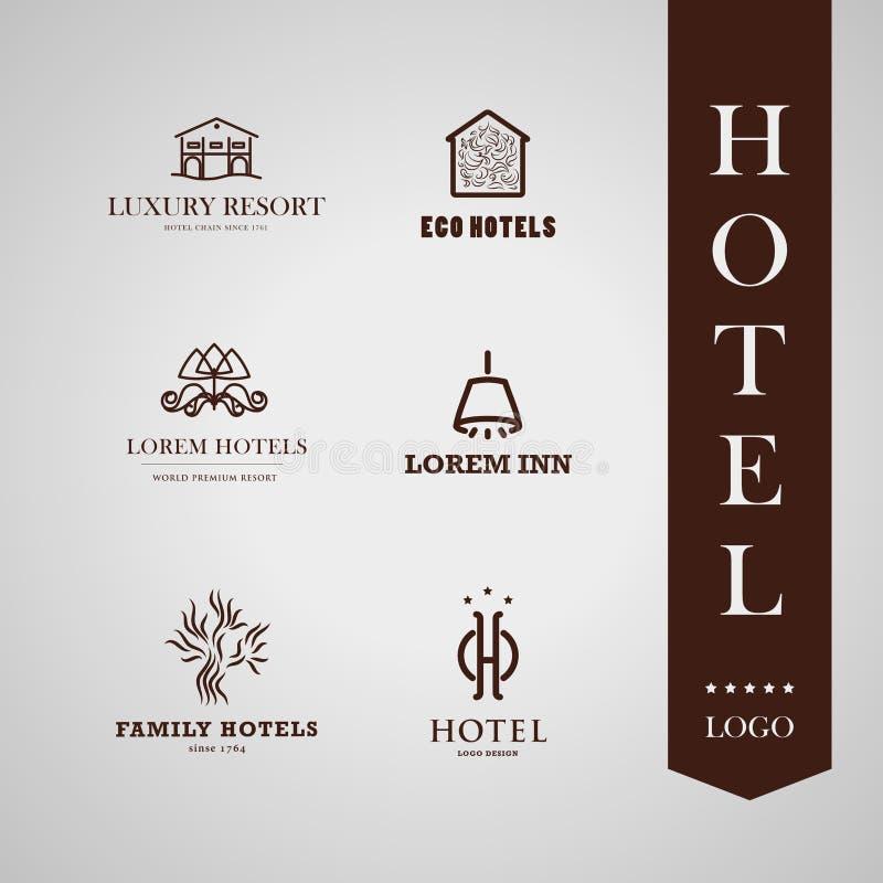 Vector set of hotel and resort logo design. royalty free illustration