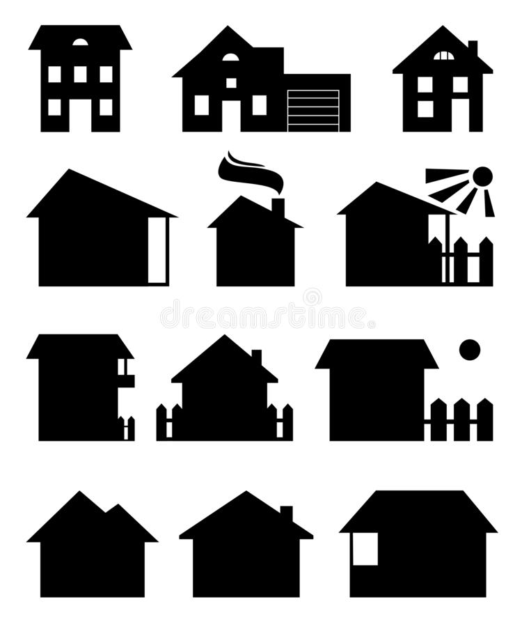 Set of houses silhouettes. A vector set of houses silhouettes. Different black houses isolated on a white background royalty free illustration