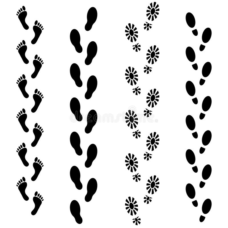 Vector set of human footprints icon. Collection of bare foots, boots, sneakers, shoes with heels. stock illustration