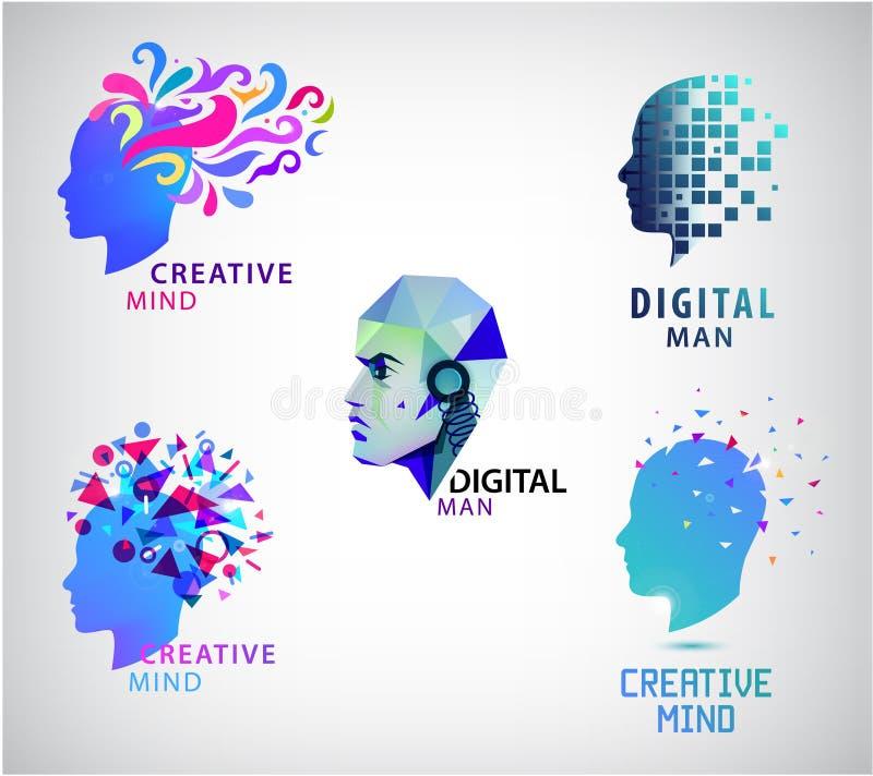 Vector set of human head, creative mind, think logos. Digital man vector illustration