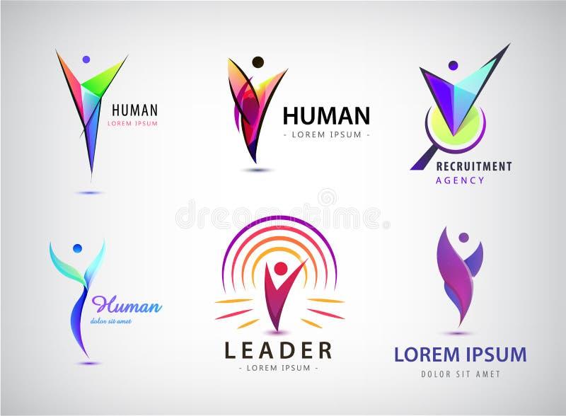 Vector set of human, man logos, icons. e royalty free illustration