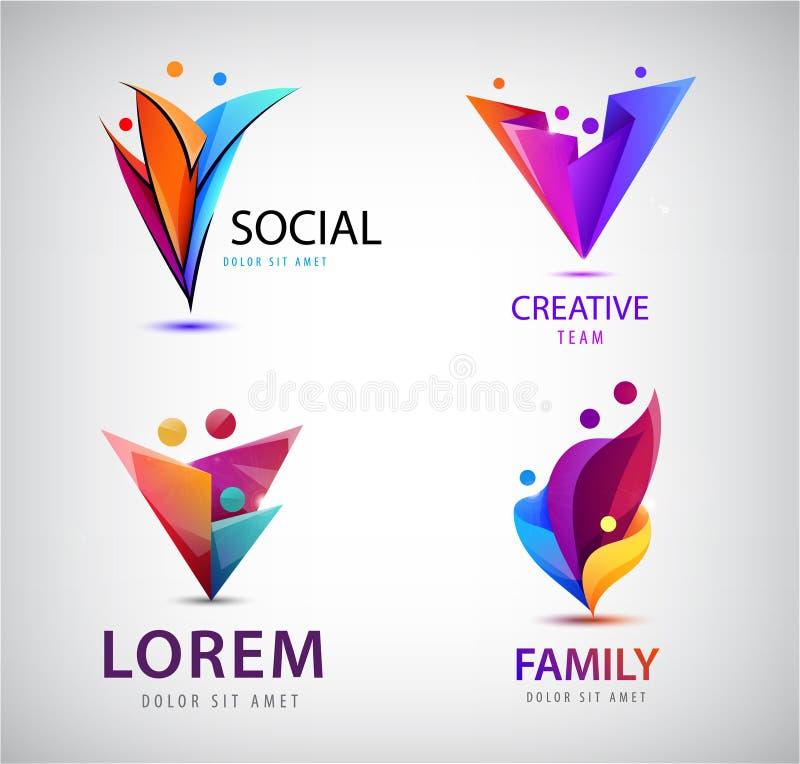 Vector set of human, people group logos. Family, business teamwork, friendship concept. 3d origami, multicolor men logo stock illustration