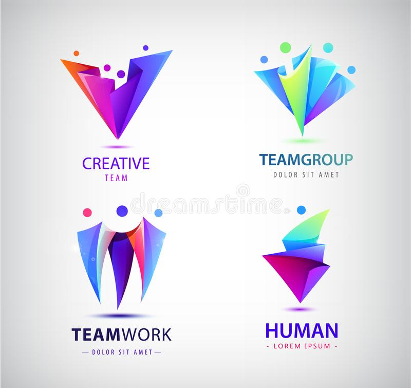Vector set of human, people group logos. Family, business teamwork, friendship concept. 3d origami, multicolor men logo. Collection vector illustration