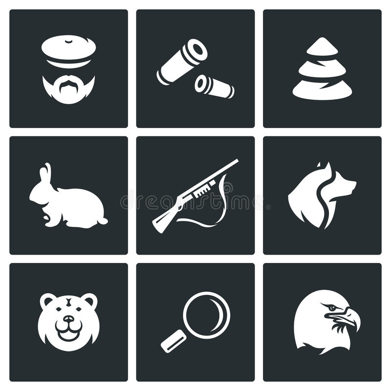 Vector Set of Hunting Icons. Hunter, Ammunition, Timber, Animal, Arms, Dog, Predator, Search, Bird. vector illustration