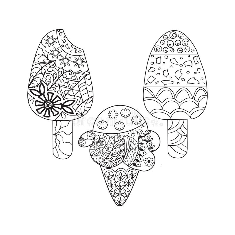 Download Vector Set Ice Cream For Coloring Book Adult Stock Illustration