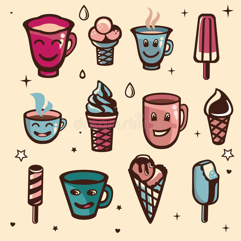 Vector set with ice cream and cups