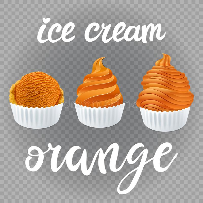 Vector Set of Ice cream scoops poster design with creme Fresh Frozen orange popsicle isolated on transparent background vector illustration