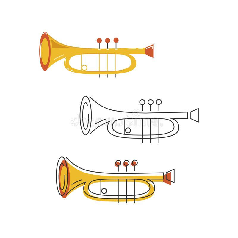 Vector set with icons of cornet or horn. Isolated on background. Flat and line style stock illustration