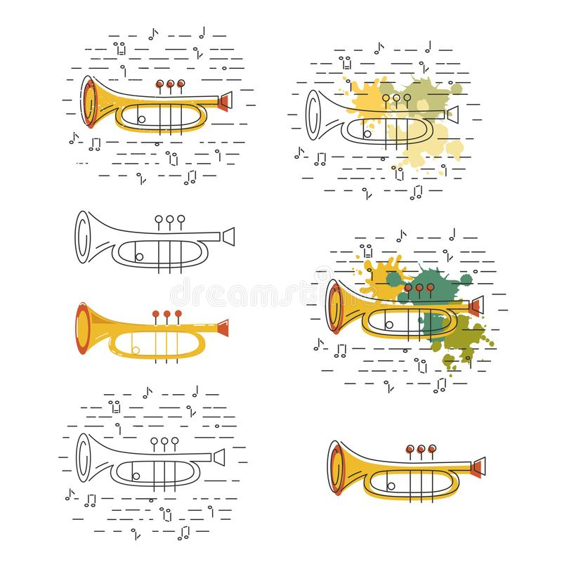 Vector set with icons of cornet or horn. Isolated on background. Flat and line style vector illustration