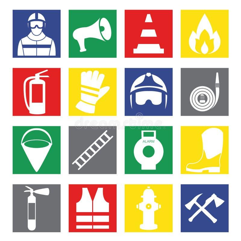 Vector set icons of firefighting equipment illustration. Set icons of firefighting equipment illustration vector illustration