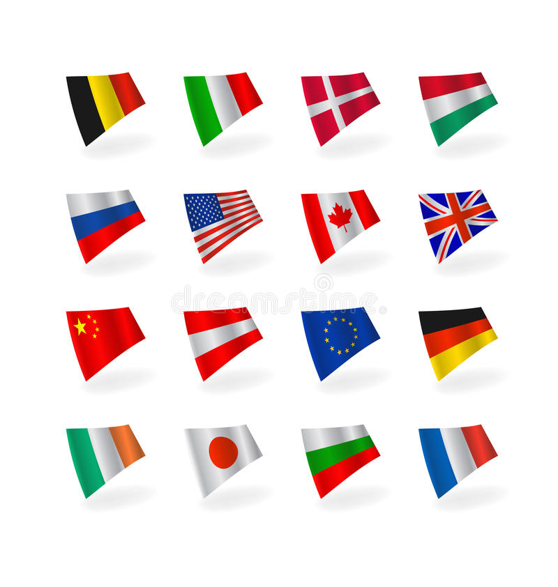 Download Vector set icons flags stock illustration. Image of blue - 12374780