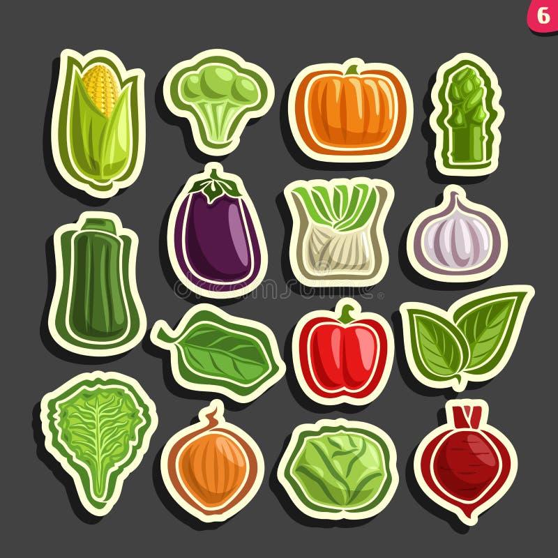 Vector Set icons of fresh Vegetables. 15 minimal labels for veg nutrition on black background, set of cartoon simple vegan stickers, tags for vegetarian royalty free illustration