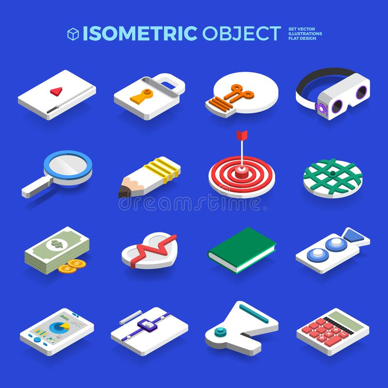 Vector set icons isometric 3d object concept business and techno vector illustration