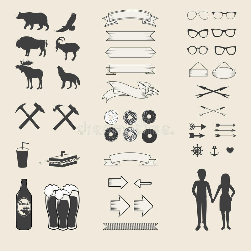 Vector set of icons and labels for your design stock illustration