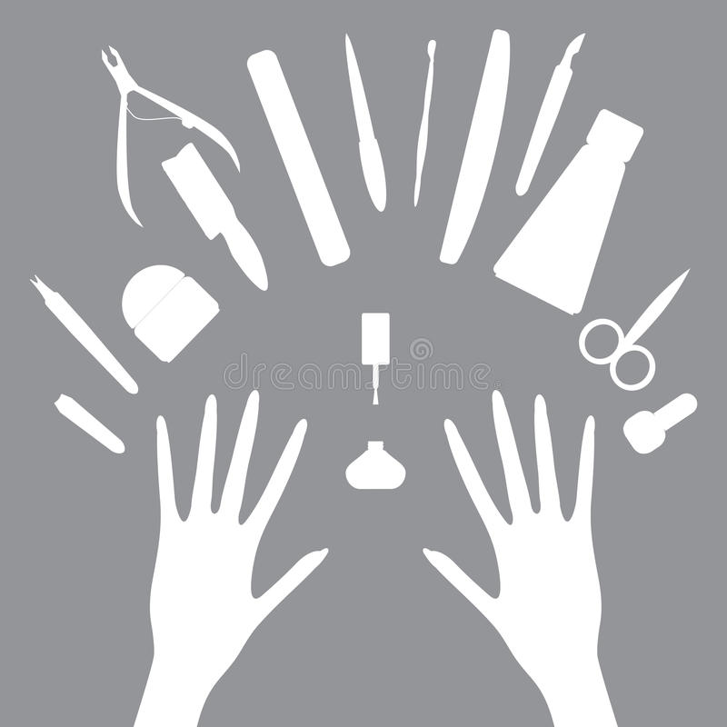 Vector set icons of manicure tools vector illustration