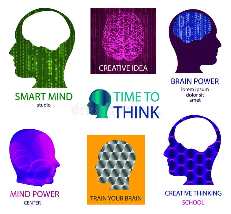 VECTOR set of icons: smart mind studio, mind power center, time to think, creative idea, brain power, train your brain stock illustration