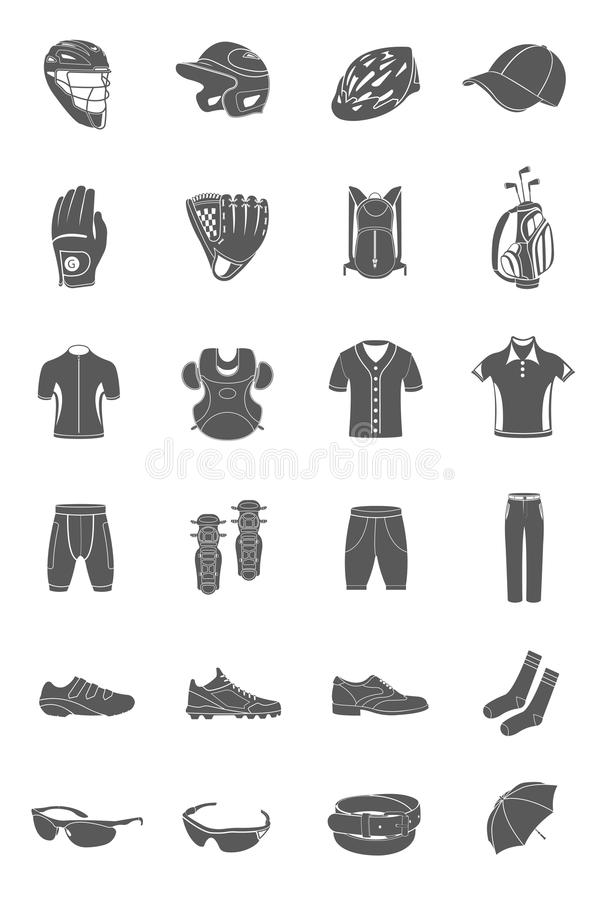 Vector set of icons sports accessories and clothes stock illustration