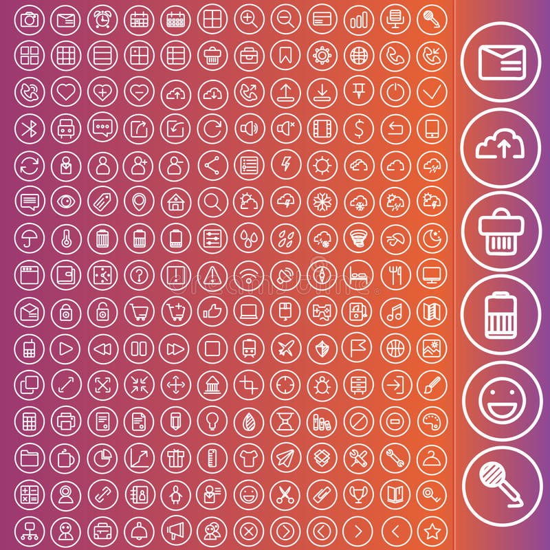 Vector set of icons for web and user interface. Design. Travel, computer, business web concepts stock illustration
