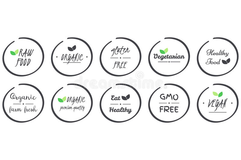 Vector set of icvector set of icons of Organic, Healthy, Vegan, Vegetarian, Raw, GMO, Gluten free Food, grey circle logo symbols. Vector set of icons of Organic stock illustration