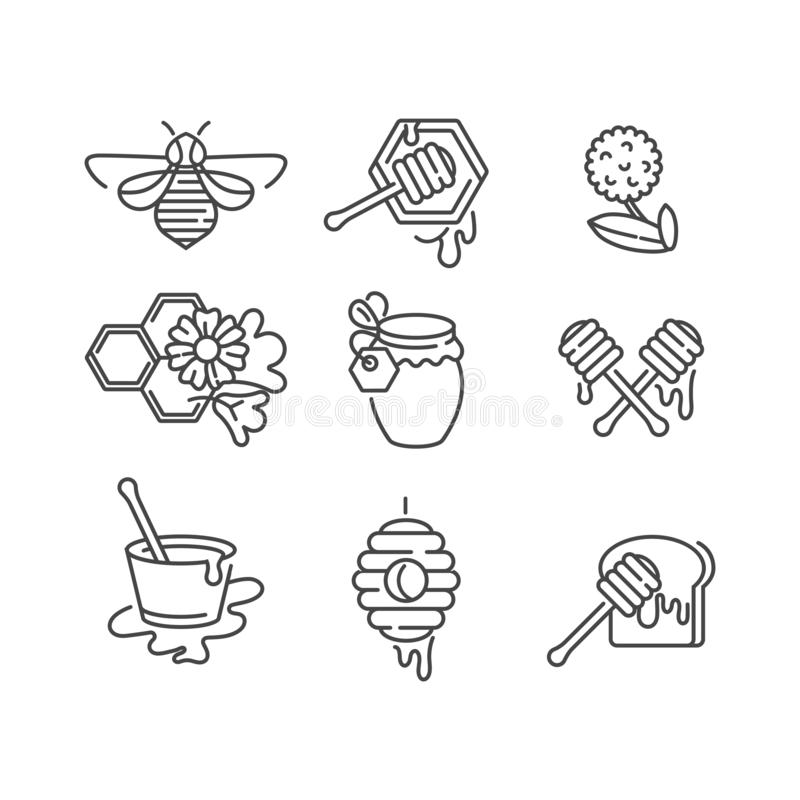 Vector set illustartion icon and design templates. Organic and eco honey signs with bees. Linear style. royalty free illustration