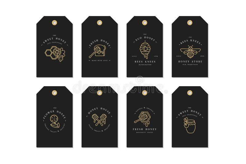Vector set illustartion logos and design templates or badges. Organic and eco honey labels and tags with bees. Linear stock illustration
