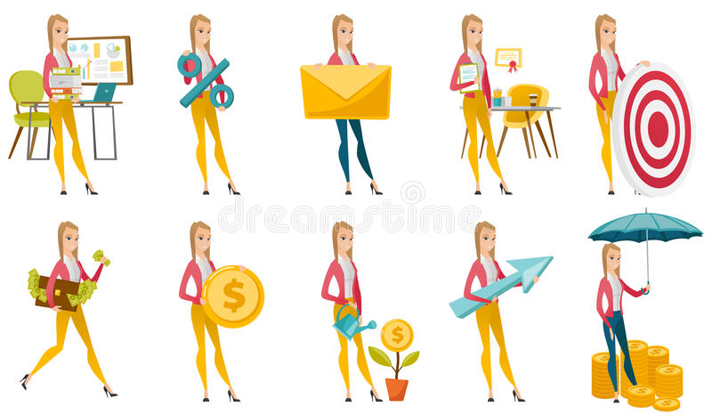 Vector set of illustrations with business people. stock illustration