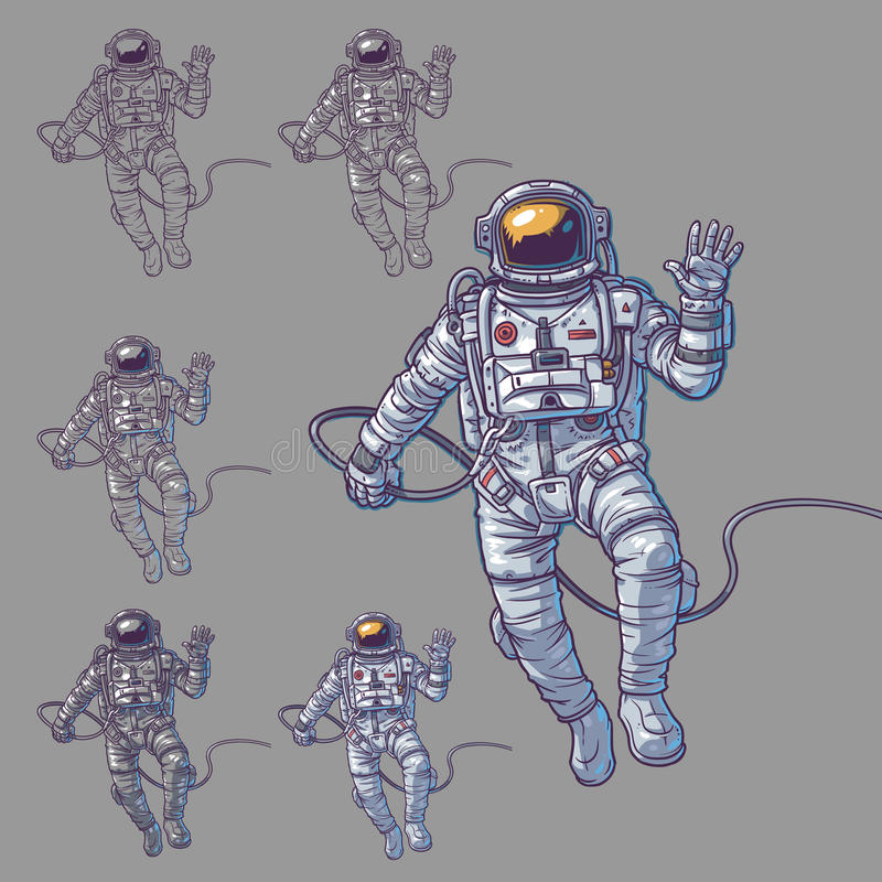 Vector set of illustrations cosmonauts. Astronauts on a white background. Print for T-shirts royalty free illustration
