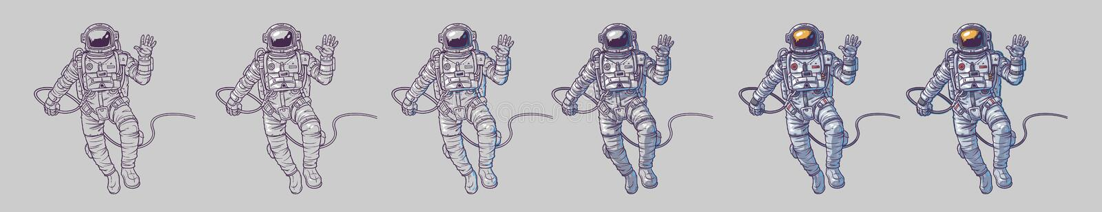 Vector set of illustrations cosmonauts. Astronauts on a white background. Print for T-shirts stock illustration