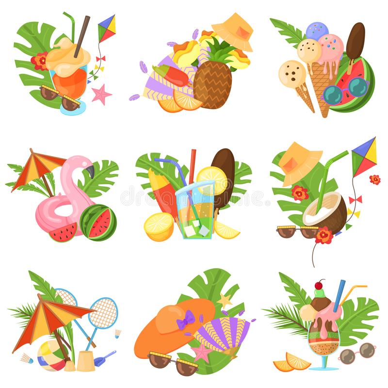 Summertime spirit vector images. Vector set of images, objects that capture the spirit of summer, summertime: flamingo inflatables, ice cream, fruits, sunglasses vector illustration