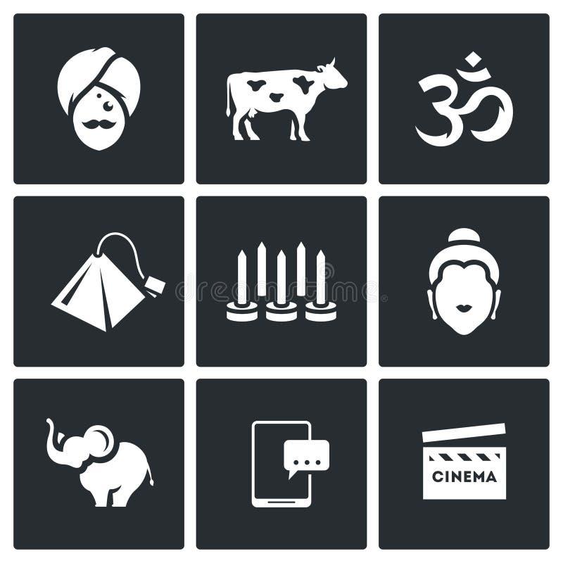 Vector Set of India Icons. Hindu, Sacred Animal, Aum, Tea, Yoga, Krishna, Elephant, Electronic, Bollywood. royalty free illustration