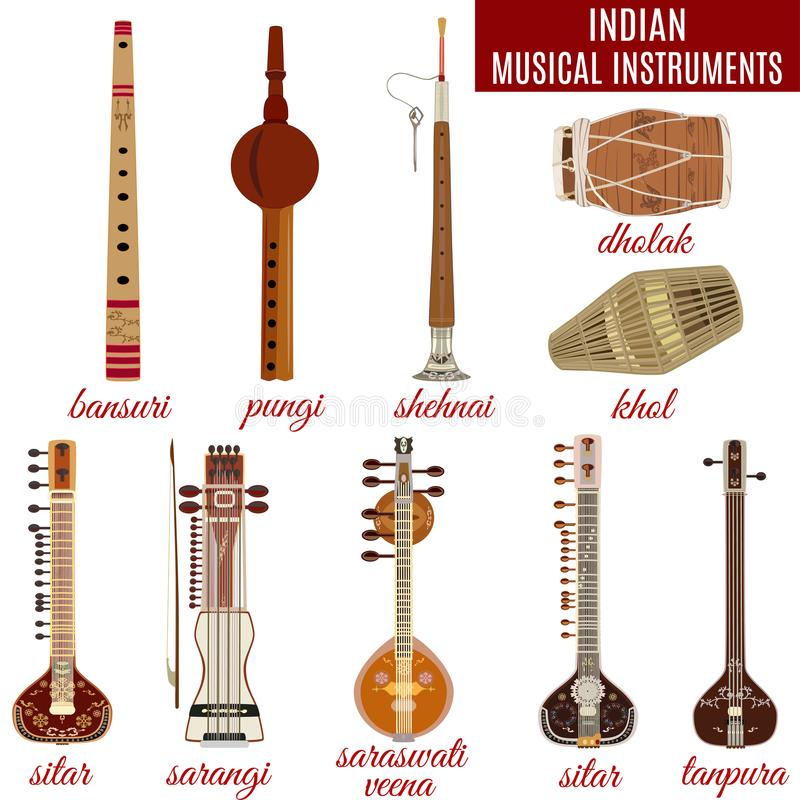 Vector set of indian musical instruments, flat style. stock photography
