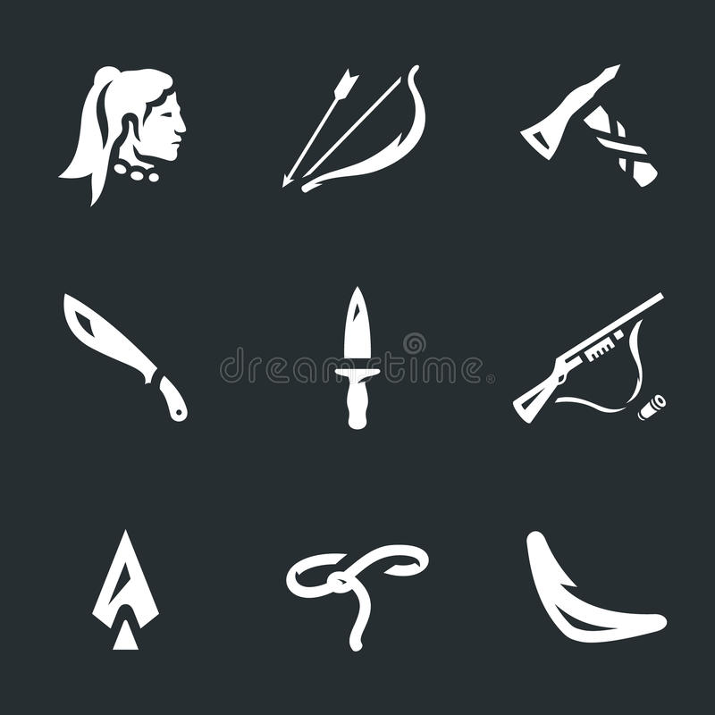 Vector Set of Indians weapons Icons. stock illustration