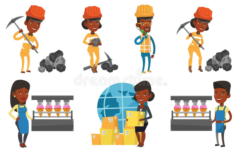 Download Vector Set Of Industrial Workers. Stock Vector - Illustration of black, delivery: 83713639
