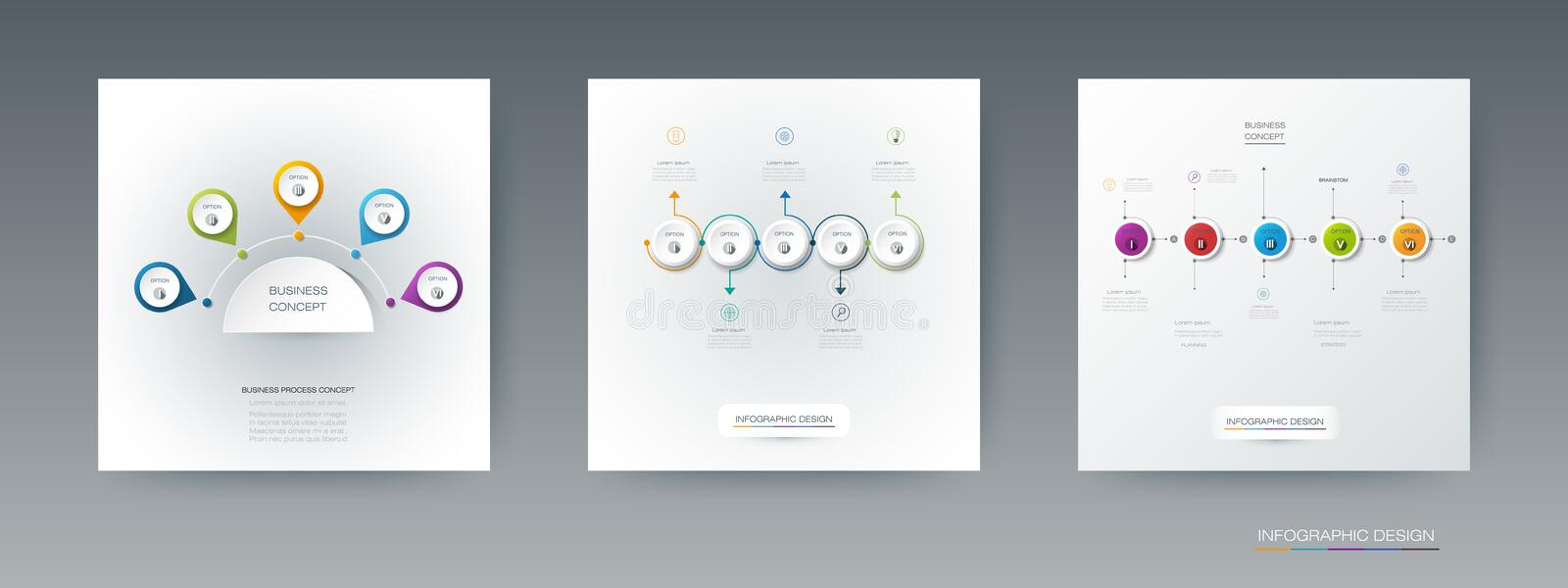 Vector set, infographics 3D circle label with 5 options or steps. royalty free illustration