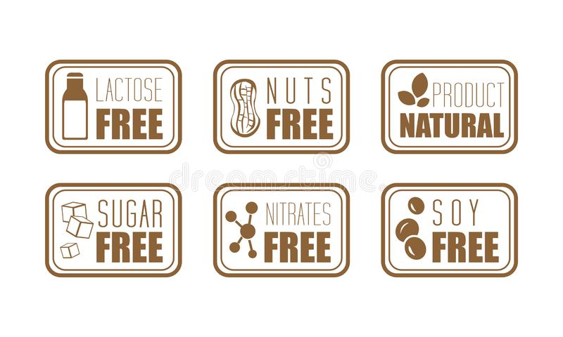 Vector set of 6 ingredient warning labels. Common allergens lactose, nuts, sugar, nitrates and soy. Natural product. Collection of 6 ingredient warning labels stock illustration