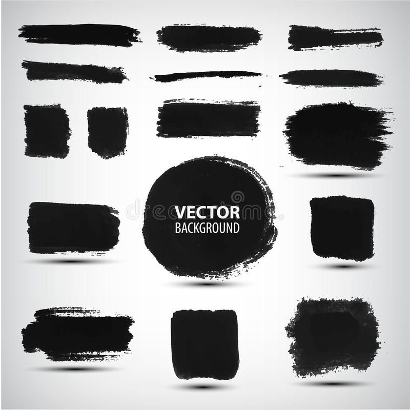 Vector set of ink brush strokes royalty free illustration