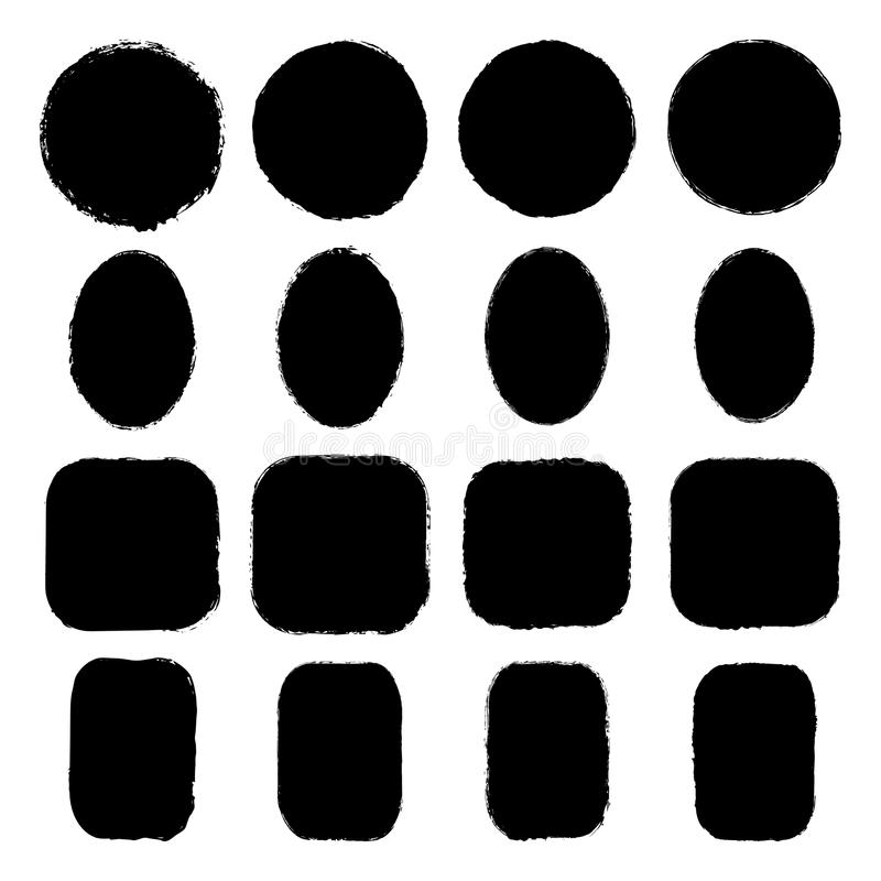 Vector set of ink-stained oval, round, rectangular, square grunge stickers with uneven rough edges. Vector set of round, oval, square, rectangular stickers stock illustration